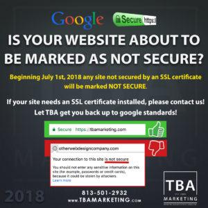 Google SSL Alert - Not Secure Website - TBA Marketing